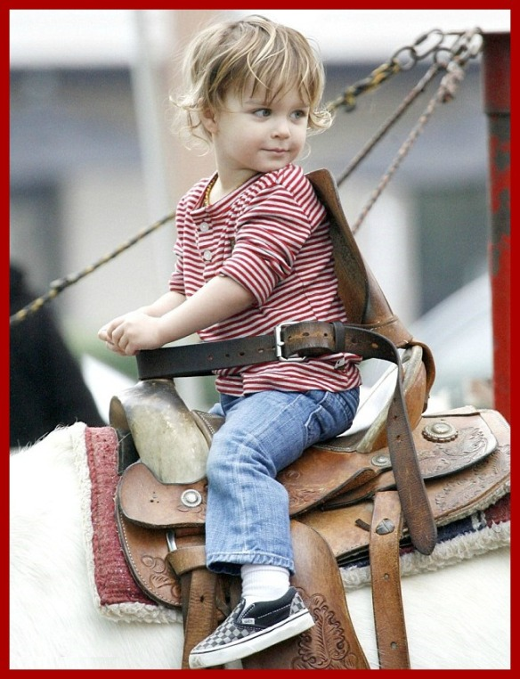 Arthur Saint Bleick Rides The Ponies At Farmers Market With Mom Selma Blair 1